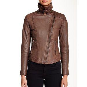 NWT $595 Muubaa Leather Patara Brown Moto Jacket 4